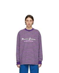 Мужская пурпурная футболка с длинным рукавом в горизонтальную полоску от Noon Goons