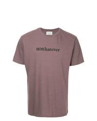 Пурпурная футболка с круглым вырезом с принтом
