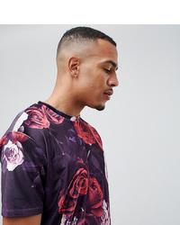 Пурпурная футболка с круглым вырезом с цветочным принтом