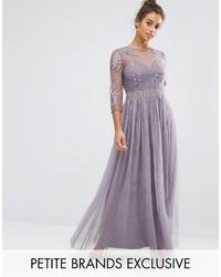 Женское пурпурное вечернее платье со складками