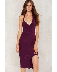 Женское пурпурное облегающее платье от Factory