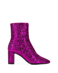 Пурпурные ботильоны с пайетками