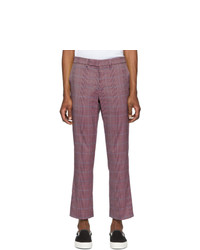 Пурпурные брюки чинос в шотландскую клетку