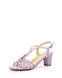 Женские пурпурные кожаные босоножки на каблуке от Vivian Royal