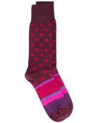Мужские пурпурные носки в горошек от Paul Smith