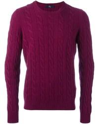 Пурпурный вязаный свитер