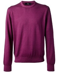 Пурпурный свитер с круглым вырезом