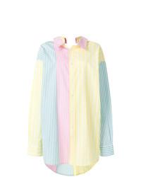 Разноцветная блуза на пуговицах в вертикальную полоску от Marni