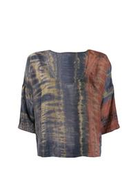 Разноцветная блуза с коротким рукавом с принтом тай-дай