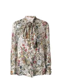 Разноцветная блузка с длинным рукавом с принтом от Tory Burch