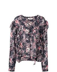 Разноцветная блузка с длинным рукавом с цветочным принтом