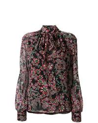 Разноцветная блузка с длинным рукавом с цветочным принтом от Giambattista Valli