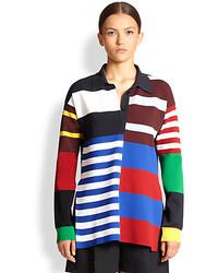 Разноцветная блузка с длинным рукавом