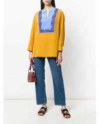 Разноцветная блузка с длинным рукавом от Tory Burch