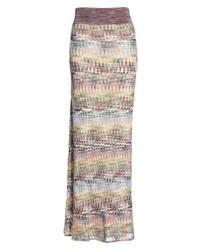 Разноцветная вязаная длинная юбка
