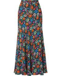 Разноцветная длинная юбка с цветочным принтом