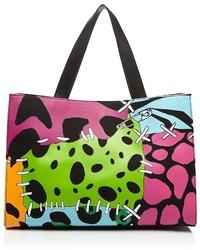 Разноцветная кожаная большая сумка