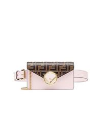 Разноцветная кожаная поясная сумка от Fendi