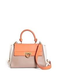 Разноцветная кожаная сумка-саквояж