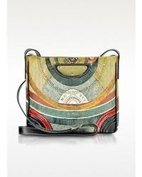 Разноцветная кожаная сумка через плечо с принтом