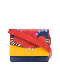 Разноцветная кожаная сумка через плечо
