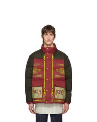 Мужская разноцветная куртка-пуховик с принтом от Gucci
