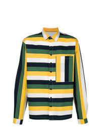 Разноцветная рубашка с длинным рукавом в горизонтальную полоску