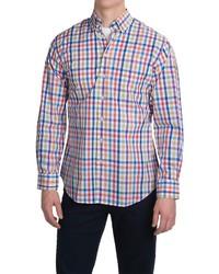 Разноцветная рубашка с длинным рукавом в мелкую клетку