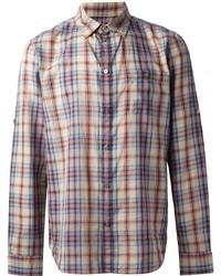 Разноцветная рубашка с длинным рукавом в шотландскую клетку
