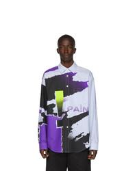 Разноцветная рубашка с длинным рукавом с принтом тай-дай