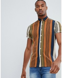 Разноцветная рубашка с коротким рукавом в вертикальную полоску