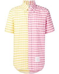 Разноцветная рубашка с коротким рукавом в мелкую клетку