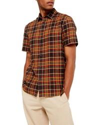 Разноцветная рубашка с коротким рукавом в шотландскую клетку
