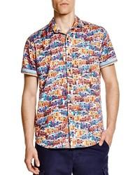 Разноцветная рубашка с коротким рукавом с принтом