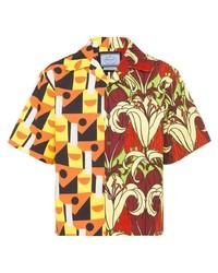 Мужская разноцветная рубашка с коротким рукавом с принтом от Prada