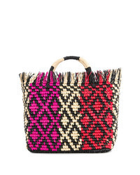 Разноцветная соломенная большая сумка