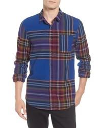 Разноцветная фланелевая рубашка с длинным рукавом в шотландскую клетку