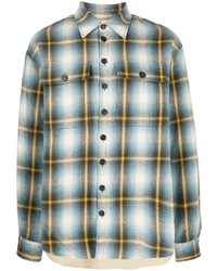 Мужская разноцветная фланелевая рубашка с длинным рукавом в шотландскую клетку от DSQUARED2