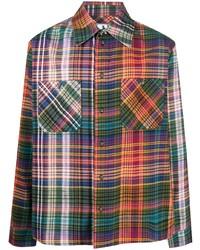 Мужская разноцветная фланелевая рубашка с длинным рукавом в шотландскую клетку от Off-White