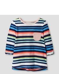 Разноцветная футболка в горизонтальную полоску