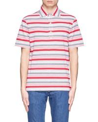 Разноцветная футболка-поло в горизонтальную полоску