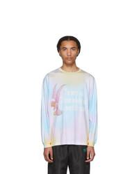 Разноцветная футболка с длинным рукавом с принтом тай-дай