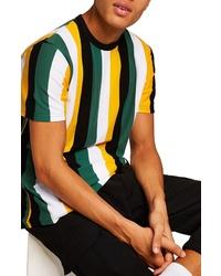 Разноцветная футболка с круглым вырезом в вертикальную полоску
