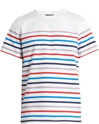 Разноцветная футболка с круглым вырезом в горизонтальную полоску