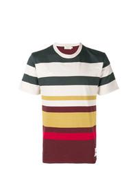 Мужская разноцветная футболка с круглым вырезом в горизонтальную полоску от MAISON KITSUNÉ