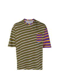 Мужская разноцветная футболка с круглым вырезом в горизонтальную полоску от Marni