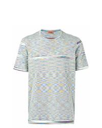 Мужская разноцветная футболка с круглым вырезом в горизонтальную полоску от Missoni