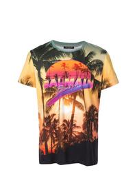 Мужская разноцветная футболка с круглым вырезом с принтом от Balmain