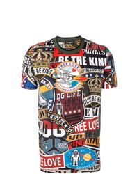 Мужская разноцветная футболка с круглым вырезом с принтом от Dolce & Gabbana