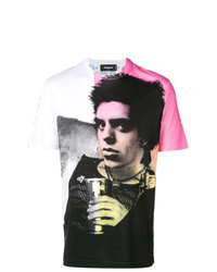 Мужская разноцветная футболка с круглым вырезом с принтом от DSQUARED2